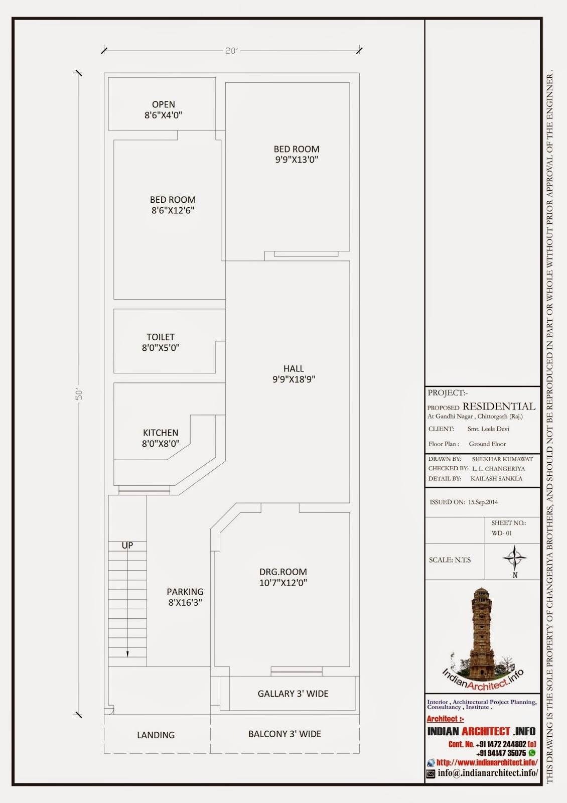 Smt. Leela Devi House 20' x 50' 1000 Sqft Floor Plan and ...