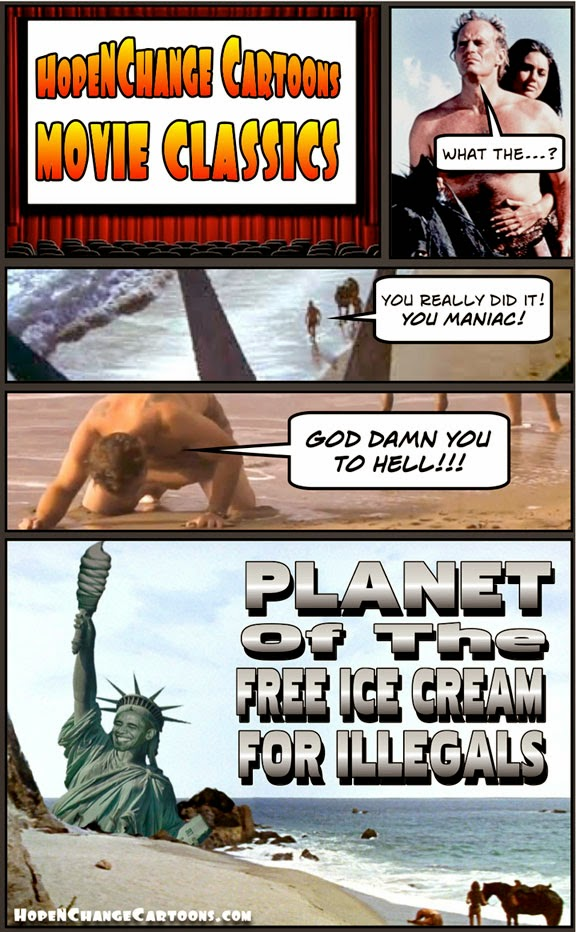 obama, obama jokes, political, cartoon, humor, stilton jarlsberg, hope n' change, hope and change, planet of the apes, illegal, immigration, aliens, border