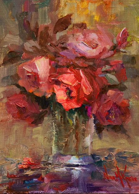 "Art & Spirit Artist Nora Kasten Oil Painting ""glass Of Red Roses"""
