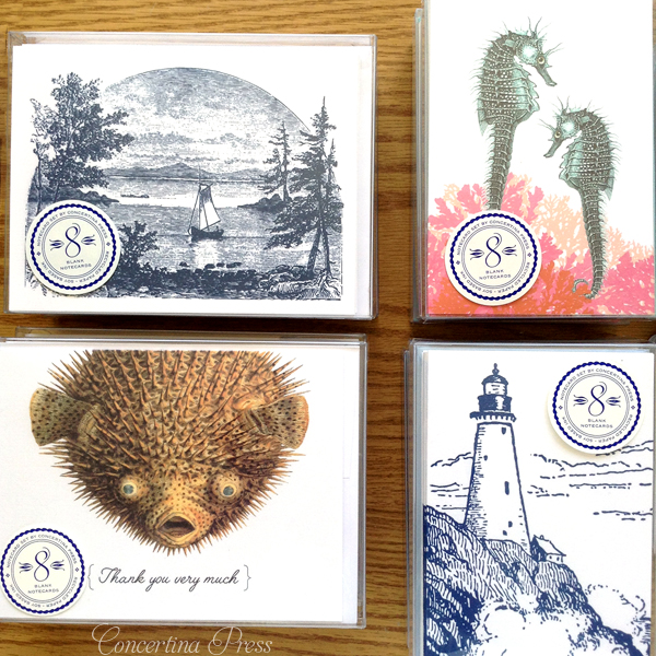 nautical boxed notecards from Concertina Press - sailing ship pufferfish lighthouse and seahorses