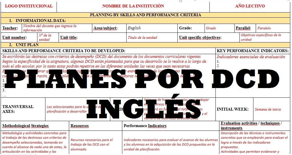 Plan De Ingles Por Destrezas Con Criterios De Desempeno 2016