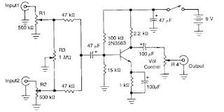 2 Channel Audio Mixer Circuit Diagram