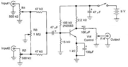 New 2 Channel Audio Mixer Circuit Diagram | Electronic