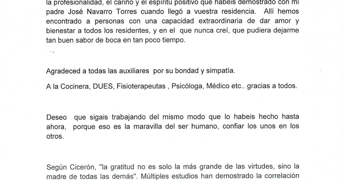 Residencia Conde de Pinofiel CARTA DE AGRADECIMIENTO DE ANA