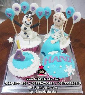 Cupcake Frozen Elsa dan Olaf