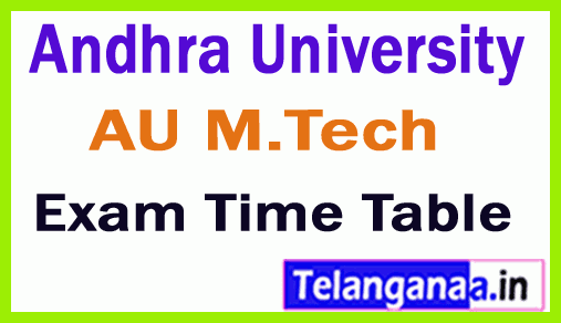 Andhra University M Tech Regular/Supply Exam Time Table
