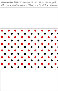 Etiquetas de Lunares Rojos y Negros para imprimir gratis.