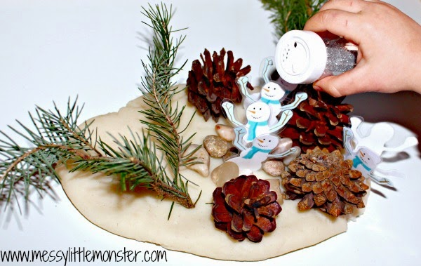 Snowman activity: playdough winter wonderland