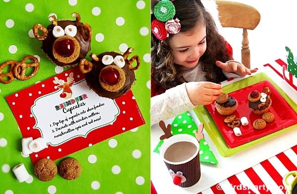 Rudolph Chocolate DIY Cupcakes Recipe - BirdsParty.com