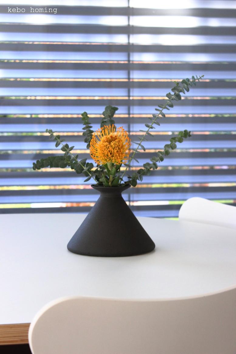 Protea in orange und Eukalyptus, Blumen am Freitag bei kebo homing, dem Südtiroler Food- und Lifestyleblog, flowers, flowerday, minimalism