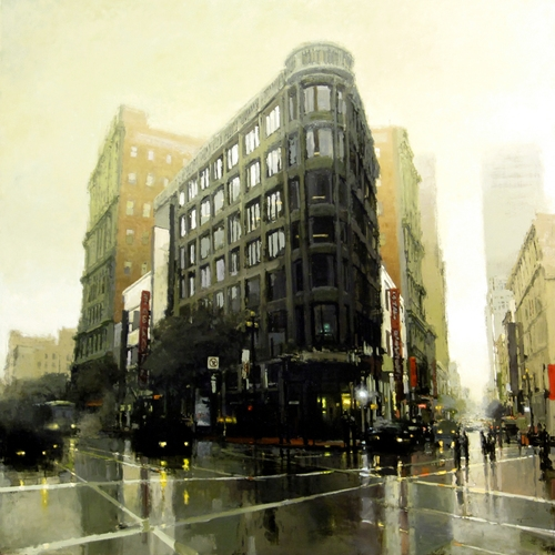 04-Market-St-Morning-in-Green-Jeremy-Mann-Figurative-Painting-in-Cityscapes-Oil-Paintings-www-designstack-co