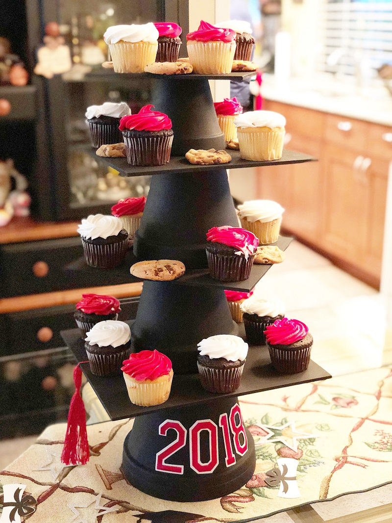 creating with joy personalized graduation cap cupcake stand