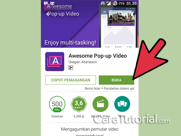 Buka aplikasi Awesome Pop-up Video