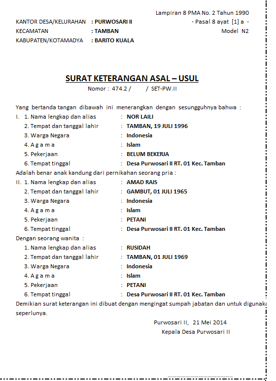 Contoh Surat Talak Nikah Sirih