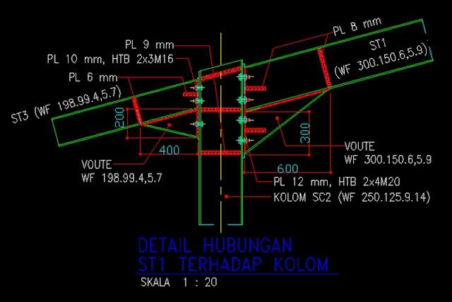 Gambar Kerja Detail Hubungan Konstruksi Baja File Dwg Kaula Ngora Kumpulan Gambar Kerja File Dwg