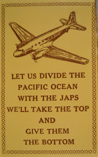 "A poster featuring an airplane and the text ""Let us divide the Pacific Ocean with Japs We'll take the top and give them the bottom."""