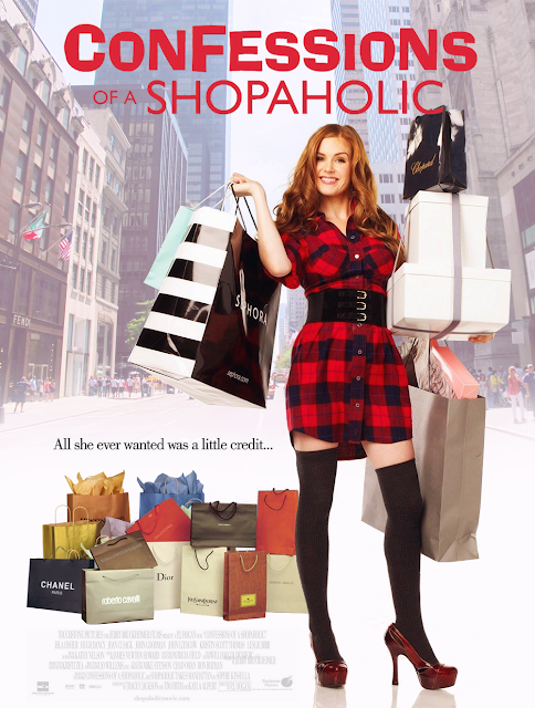Isla Fisher looks more or less stylish and or tantalizing in long stockings  and high heels on this poster for P.J. Hogan s Confessions of a Shopaholic 1c8b71f484