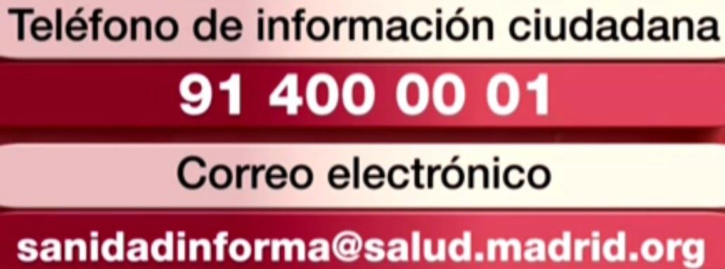 Teléfono y correo electrónico de información ciudadana