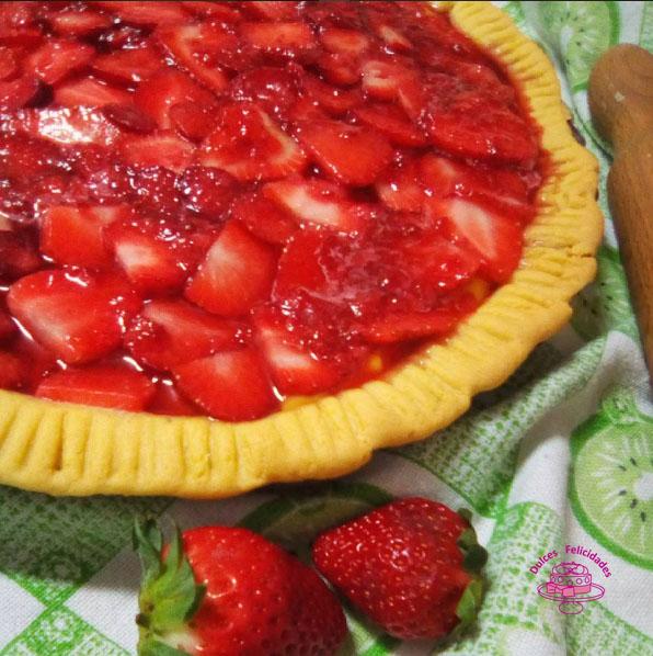 Tarta de fresas y crema pastelera: masa quebrada con aceite de girasol.