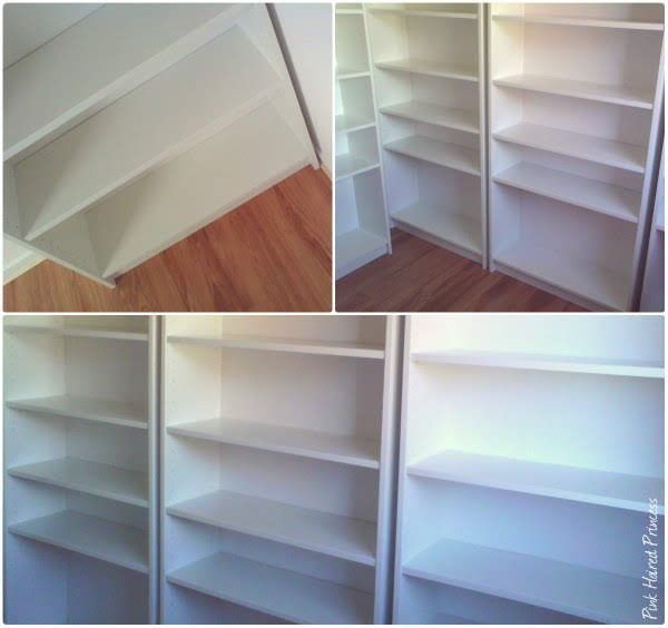 collage of photos showing Ikea Billy bookcases for shoe closet