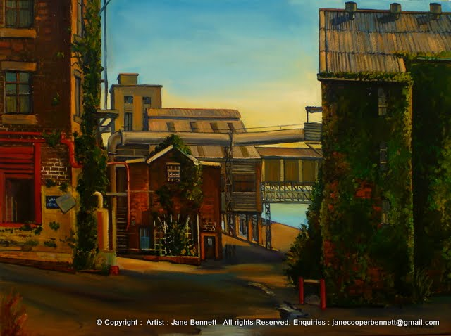 plein air oil painting of the  CSR Refinery before the construction of Jacksons Landing by industrial heritage artist Jane Bennett
