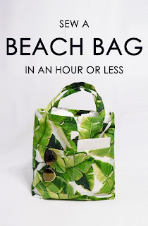 beach bag tutorial, sewing project, easy, summer craft