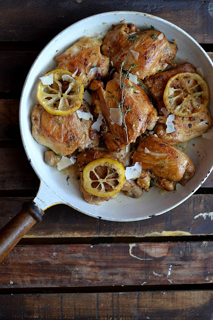 skillet, thyme, garlic, lemon, chicken, chicken thighs, recipe