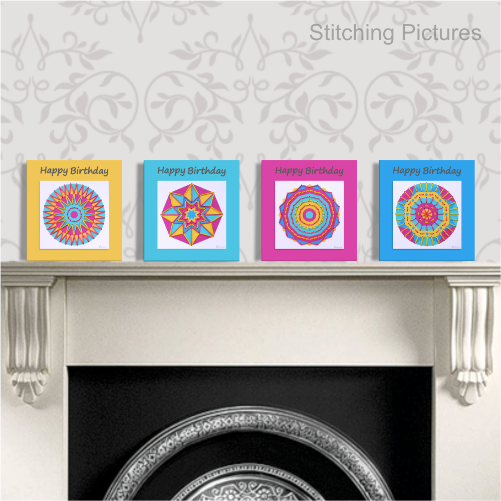 Set of greetings cards with stitching on card mini mandala patterns.