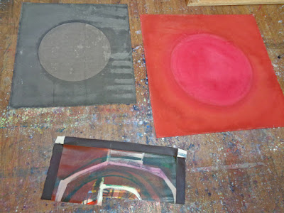 mixed media abstract painting red grey blue circles and lines