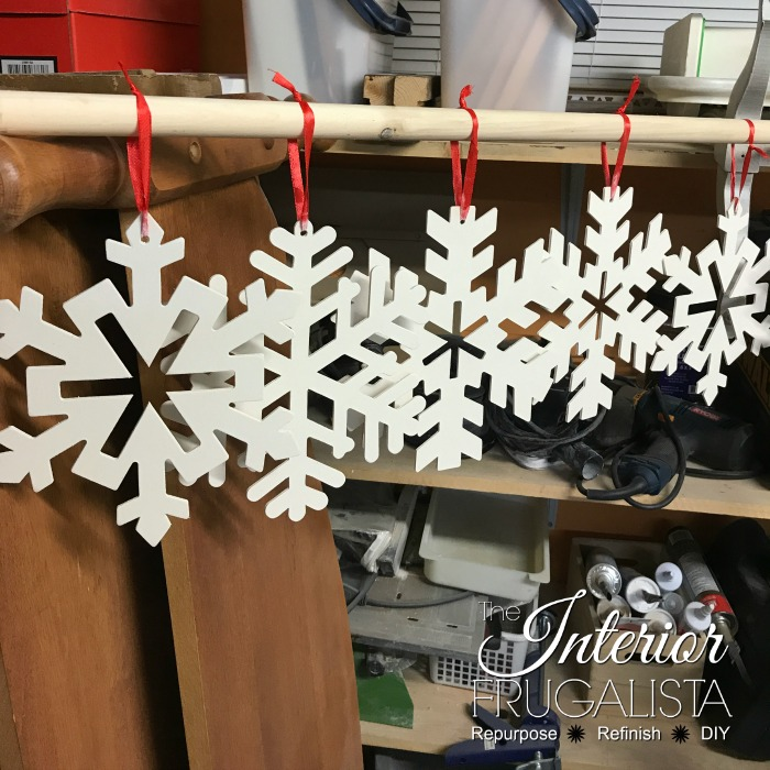 Easy Snowflake Craft Painted White Hung To Dry