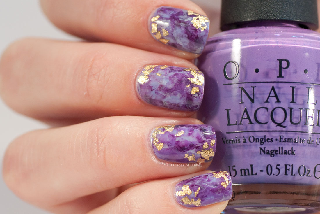 Purple and Gold Amethyst Nail Art