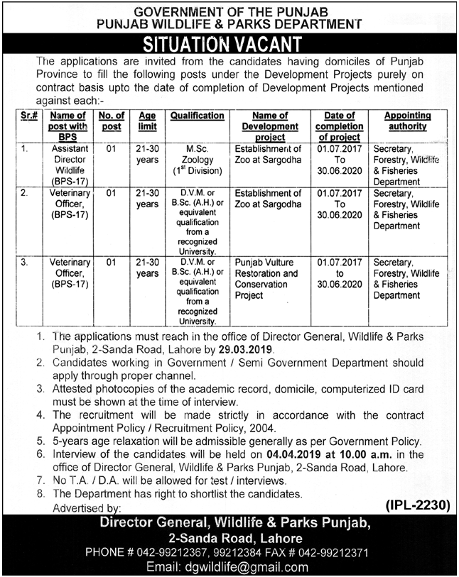 Advertisement for Punjab Wildlife & Parks Department Jobs
