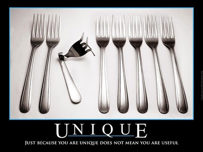 Just because you are unique does not mean you are useful.