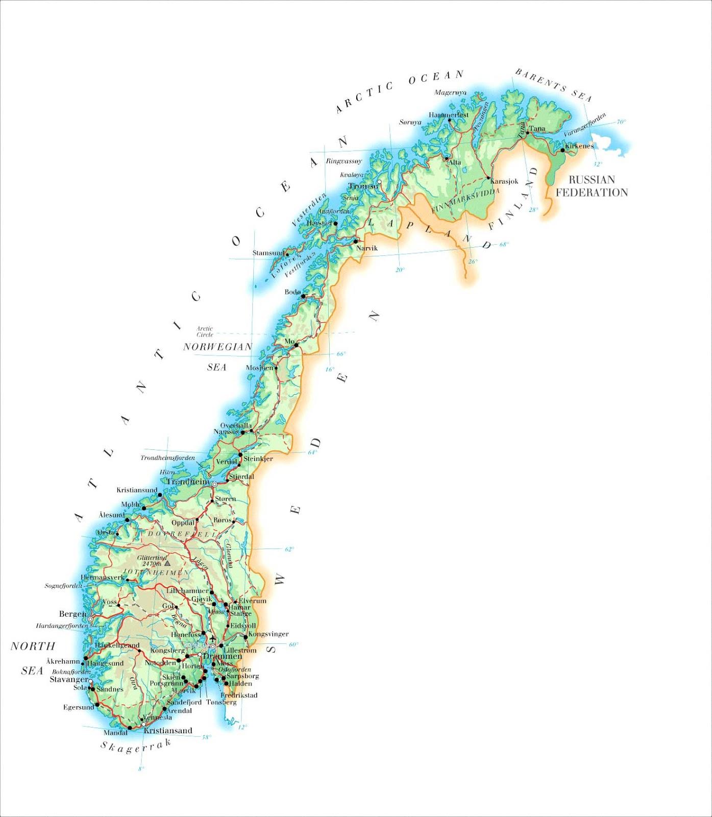 Noruega | Mapas Geográficos da Noruega