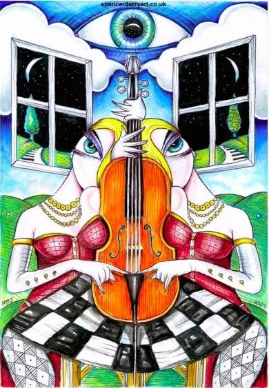 CELLO SONG | ORIGINAL SURREAL ART ILLUSTRATION SPENCER J DERRY ARTIST ARTWORK