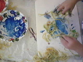 Spaghetti Painting for Edible Art and Sensory Play.