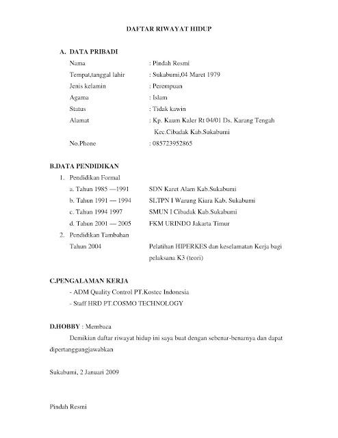 Contoh Daftar Riwayat Hidup doc