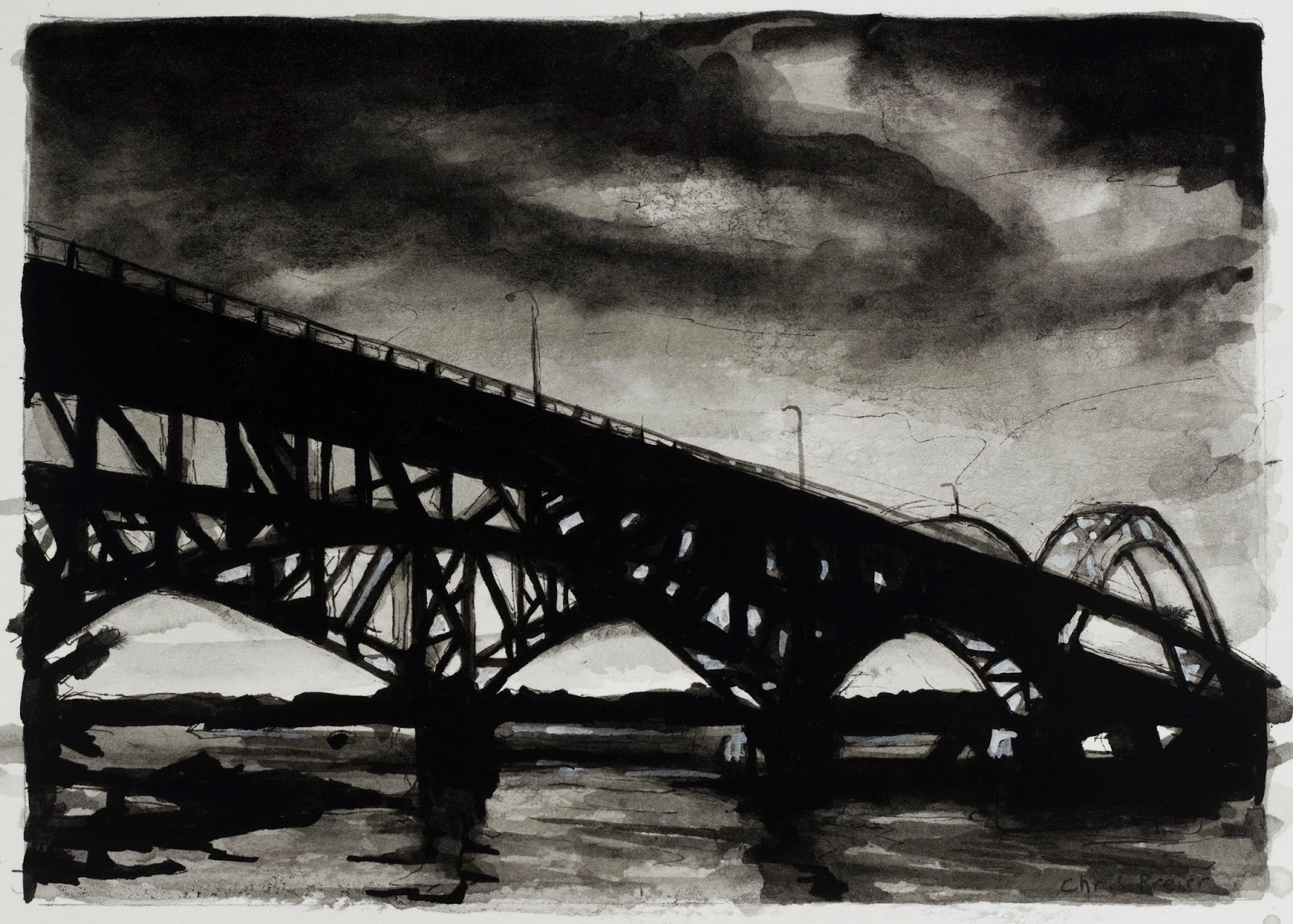 A black and white drawing of the South Grand Island Bridge