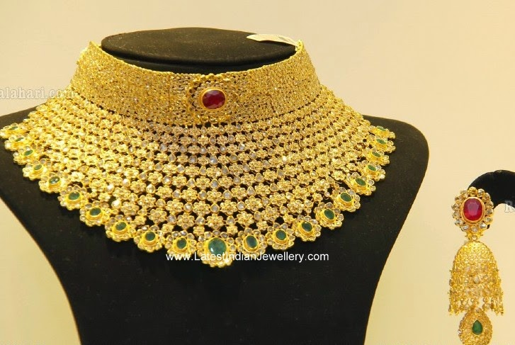 Huge Uncut Diamond Necklace Jhumka Set Latest Indian