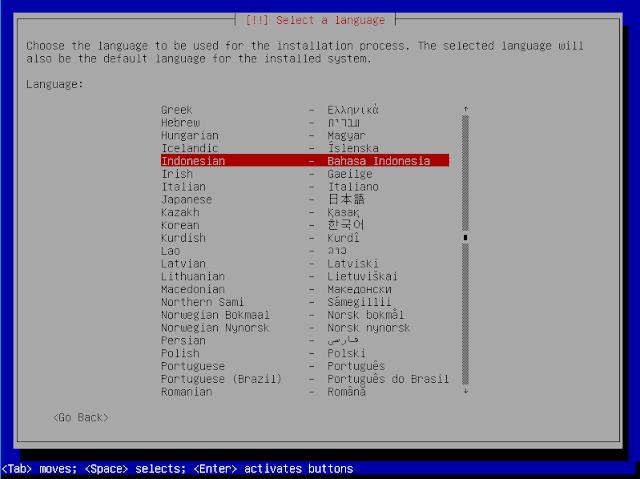 Instalasi Debian - Memilih Bahasa