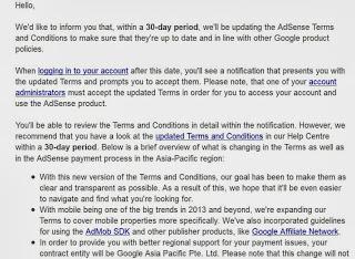 ketentuan dan syarat google adsense di tahun 2013