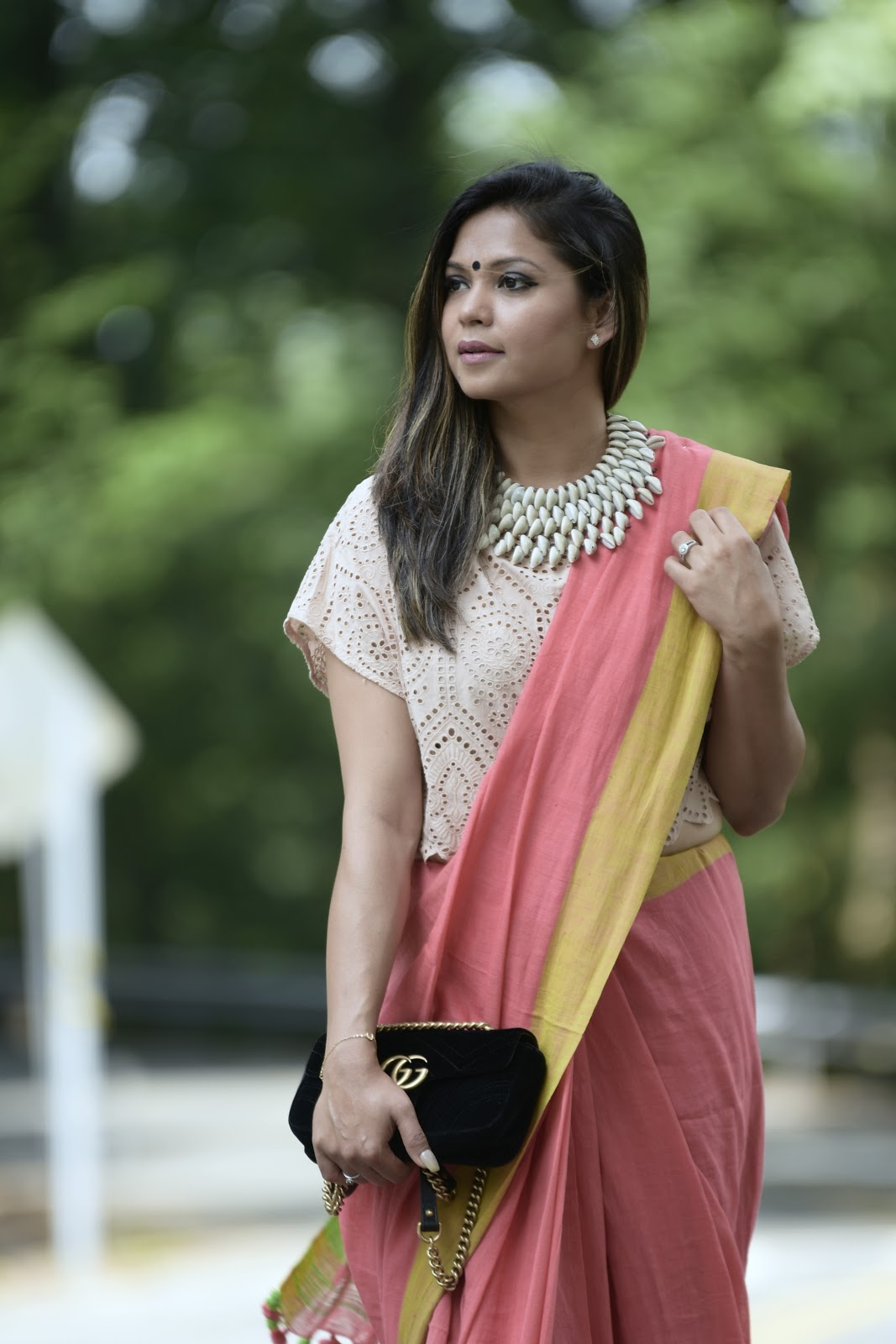 how to wear sari, indian , khadi, cotton love, fashion, style , fusion wear, indian blogger, street style, statement necklace, myriad musings