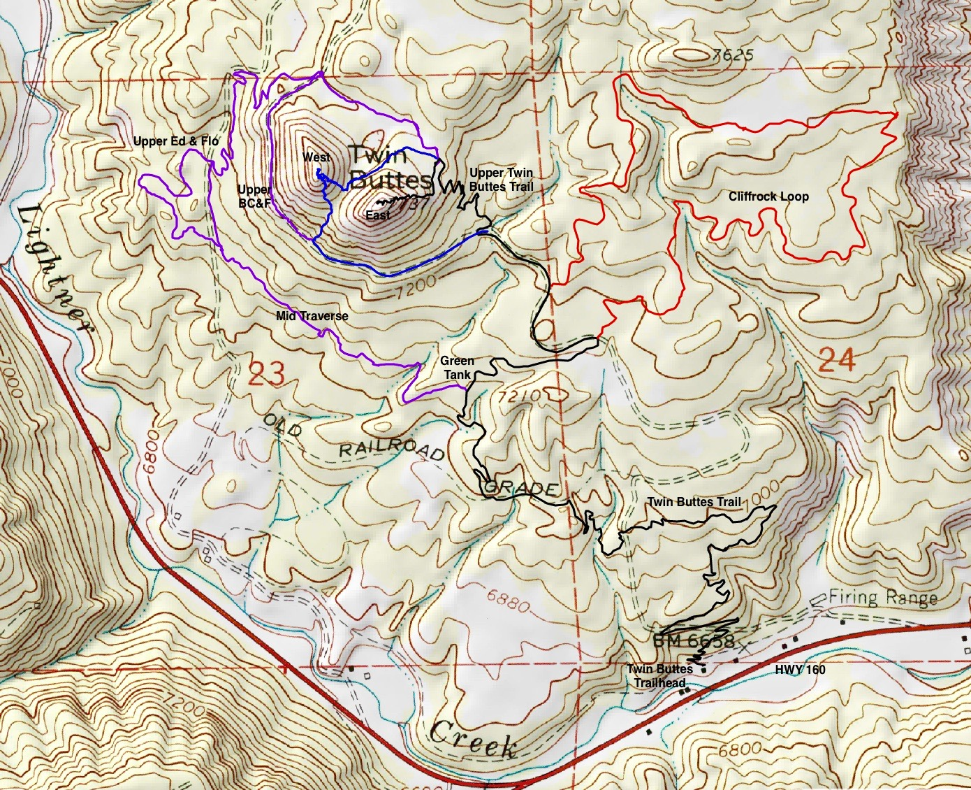 the blue line route tackles twin buttes west for those who prefer to stay on trails the cliffrock loop is depicted in red and the west side trails are