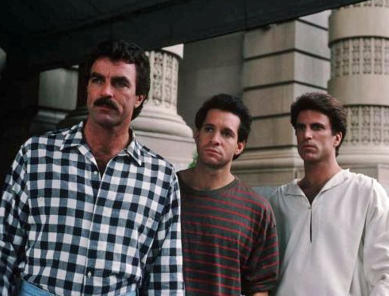 3 Men an a Baby stars Tom Selleck, Steve Guttenberg, and Ted Danson