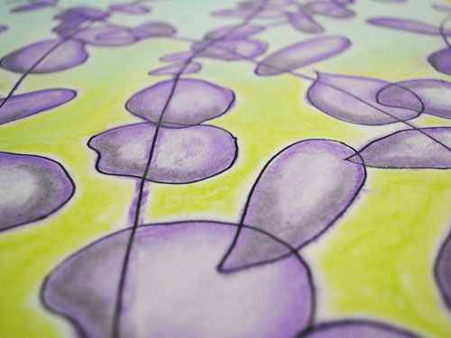 Purple and green abstract in chalk pastel