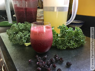 photo of raspberry kale lemonade slushy