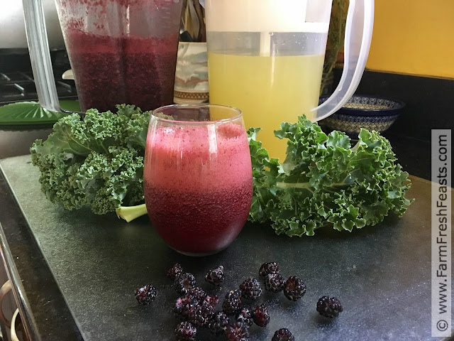 photo of raspberry kale lemonade slushy in a glass