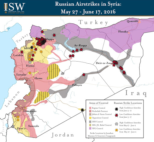 Russian Airstrikes in Syria: June 3 - 17, 2016
