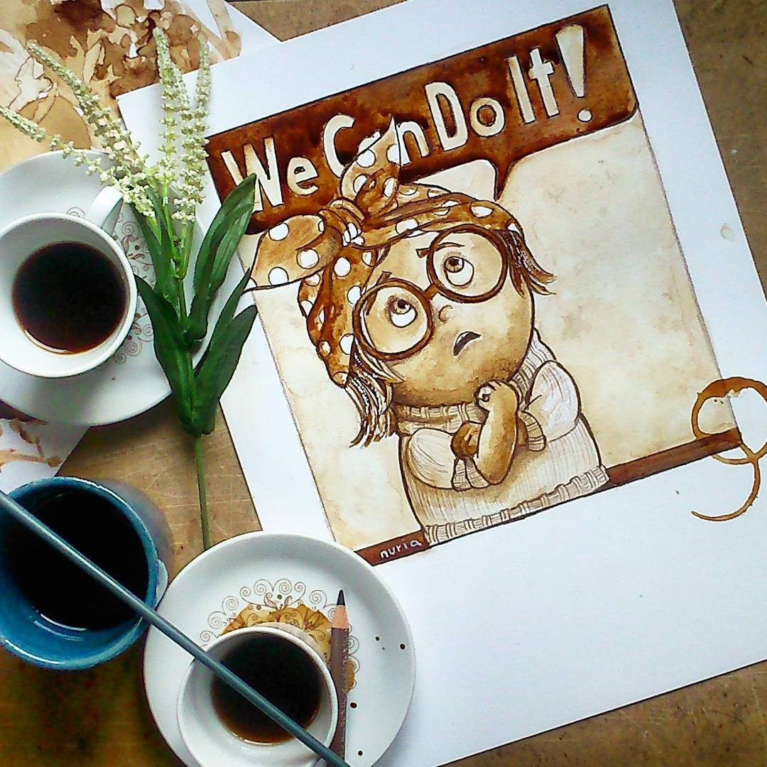 08-Sadness-We-Can-Do-It-Inside-Out-Nuria-Salcedo-nuriamarq-Celebrities-and-Animated-Movies-Painted-with-Coffee-and-Brown-Pencil-www-designstack-co