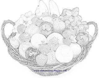 Coloring a basket full of fruits ~ Elena reviews